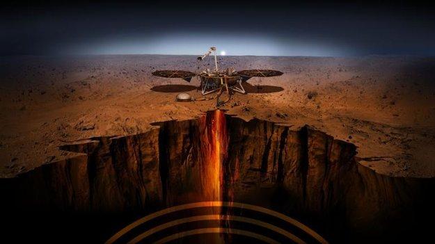 Vizualizácia sondy InSight a nástroja, ktorý sa zavŕta päť metrov pod povrch.