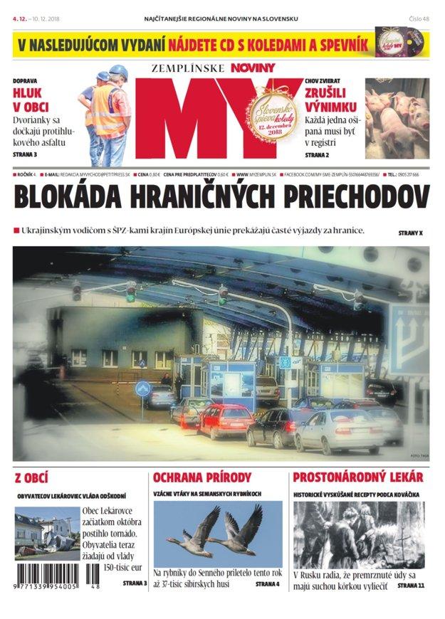 Titulka nového vydania týždenníka MY Zemplínske noviny č.48.