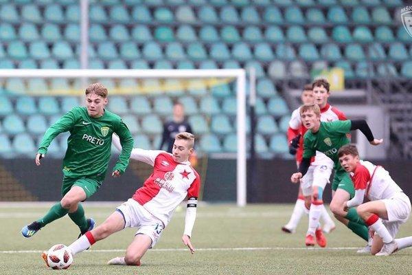Momentka zo zápasu medzi mládežníkmi MŠK Žilina a Slavia Praha.