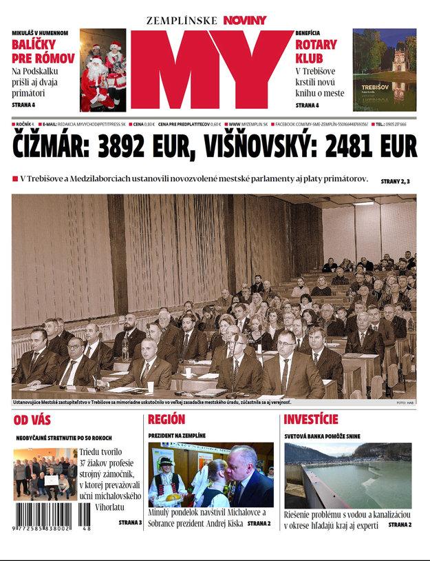 Titulka nového vydania týždenníka MY Bardejovské noviny č.49.