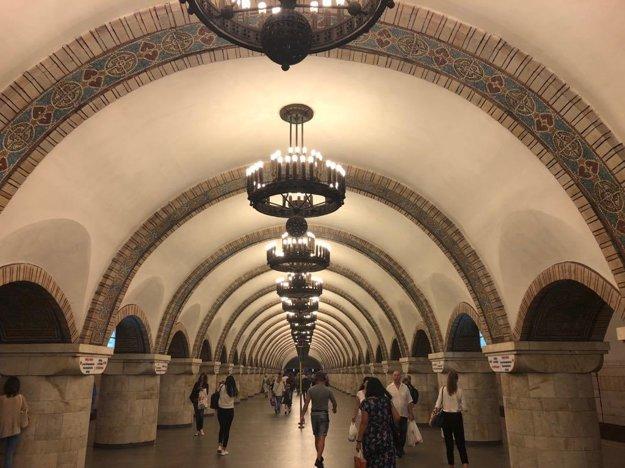 Jedna zo staníc metra v Kyjeve