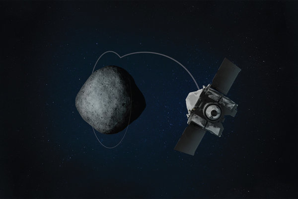 Umelecké zobrazenie vstupu sondy OSIRIS-REx na obežnú dráhu asteroidu.