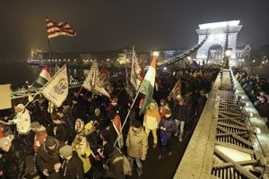 Séria protestov v Maďarsku sa začala v Budapešti vlani 12. decembra.