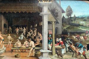Stredoveké kúpele na maľbe nemeckého autora Hansa Wertingera.