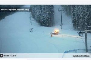 Časť lyžiarskej trate po zasypaní lavínou.