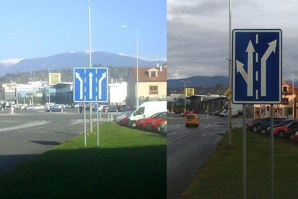 Chybná značka (na fotografii vľavo) miatla vodičov, kraj osadil správnu značku (vpravo).