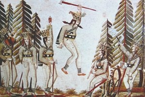 Zbojnícke motívy boli obľúbené v ľudovej tvorbe, na obrázku maľba na skle z konca 18. storočia.