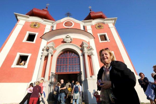Magdaléna Vášáryová pri predstavení obnovenej Kalvárie v Banskej Štiavnici.