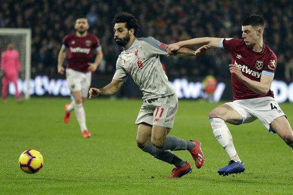 Mohamed Salah v zápase s West Hamom.