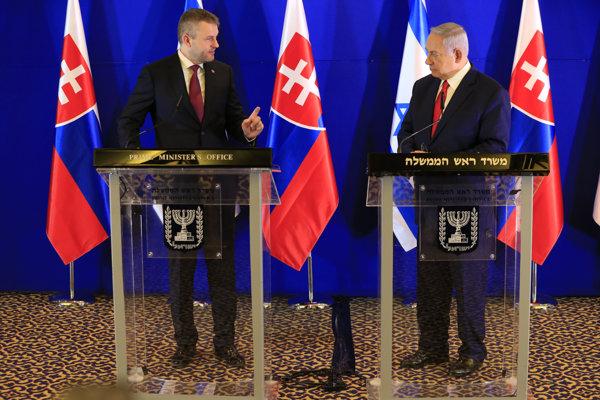 Slovenský premiér Peter Pellegrini a premiér Izraela Benjamin Netanjahu.
