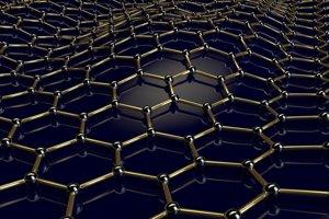 Vizualizácia mriežky grafénu, ktorá je tvorená zo šesťuholníkov z atómov uhlíka.