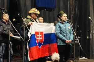 Farmárka Miriama Šimončíková na proteste pri prvom výročí vraždy Kuciaka a Kušnírovej.