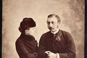 Snúbenci - fotografia zachytáva Gejzu Andrássyho s jeho (vtedy) snúbenicou Eleonórou Kaunitz