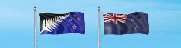 Nový návrh (vľavo) a súčasná vlajka Nového Zélandu.