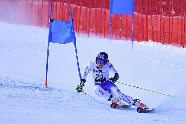 Petra Vlhová počas obrovského slalomu na Európskom pohári v Jasnej 2019.