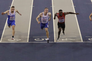 Ján Volko vo finále behu na 60 metrov na HME v atletike 2019.