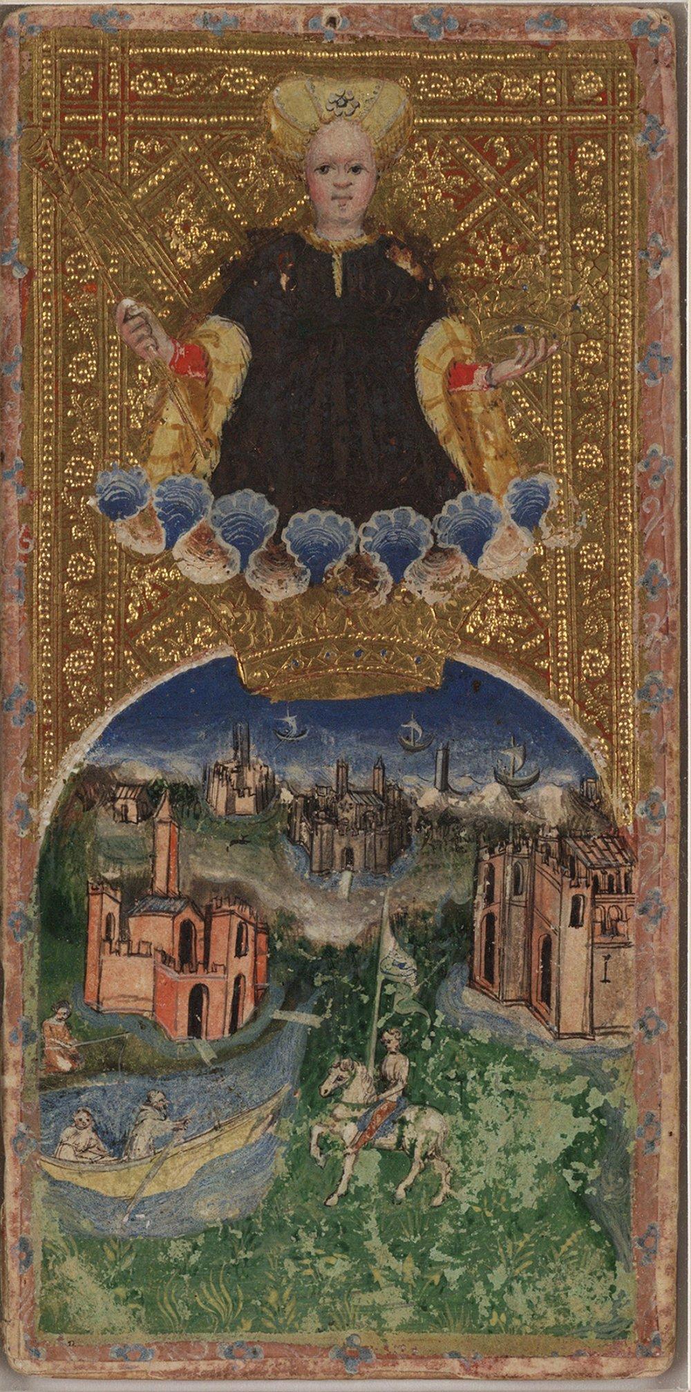 Karta Svet z Viscontiho tarotu z rokov 1442 – 77 z dielne Bonifacia Bemba so zlatým pozadím.