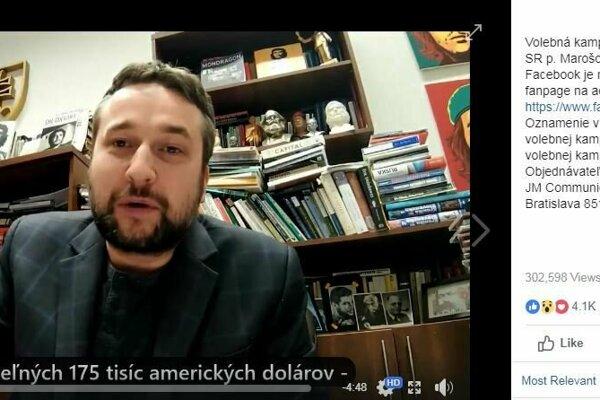 Oznámenie o Šefčovičovej kampani pri Blahovom videu.