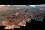Výrez z poslednej panorámy, ktorú urobil rover Opportunity.