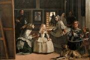Samotný maliar sa zobrazil medzi členmi kráľovskej rodiny ako rovný s rovnými.