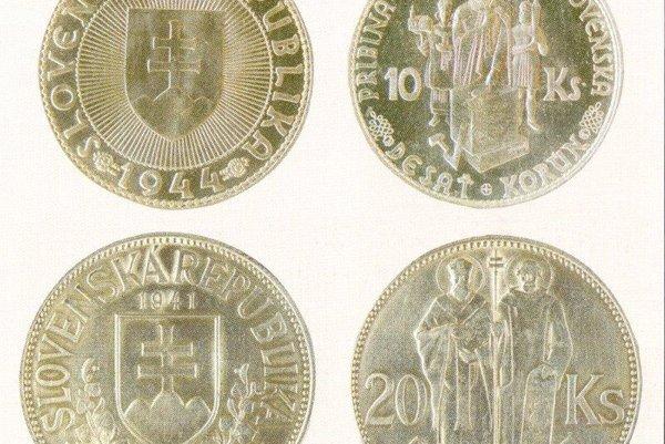Desaťkorunáčka s kniežaťom Pribinom a dvadsaťkorunáčka so sv. Cyrilom a Metodom.