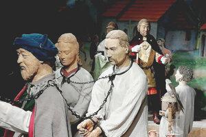 Obchod s otrokmi na výstave Na trhu Moravanov v archeoskanzene v Modrej.