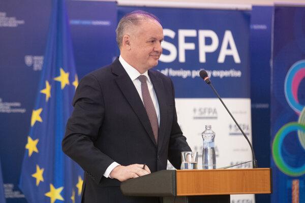 Prezident Andrej Kiska počas hodnotiacej konferencie o zahraničnej politike Slovenska.