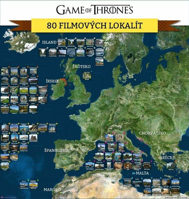 Mapa filmových lokácii seriálu Hra o tróny