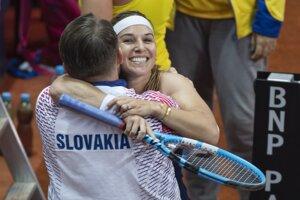 Dominika Cibulková sa raduje po zápase.
