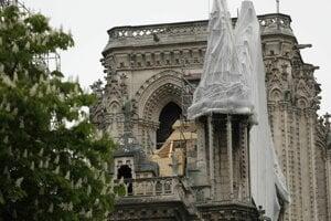 Sieť na ochrannom obale severného  štítu strechy katedrály Notre Dame.