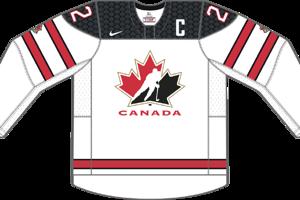 Dres Kanady určený pre zápasy, v ktorých je napísaná ako domáci tím.