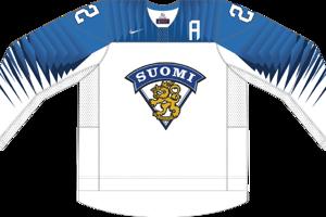 Dres Fínska určený pre zápasy, v ktorých je napísané ako domáci tím.