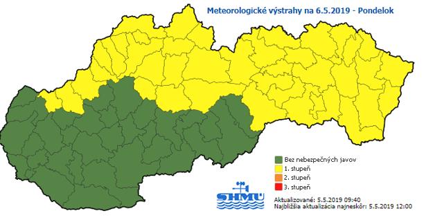 Meteorologické výstrahy na pondelok 6.5.2019