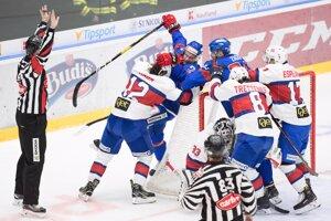 Momentka zo zápasu Slovensko - Nórsko v príprave na MS v hokeji 2019.