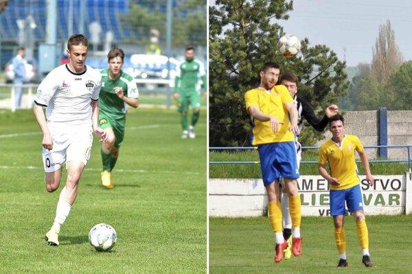 Vľavo Ondrej Vrábel (Nitra jun.), ktorý už má na svojom konte 10 gólov v tomto ročníku. Na druhej snímke vo výskoku Vrábľan Tomáš Londák, ktorý mal proti Šali bilanciu 1+1.