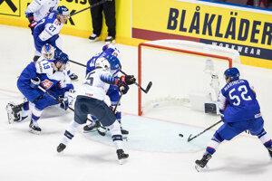 Momentka zo zápasu Slovensko - USA na MS v hokeji 2019.