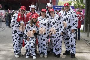 švajčiarski fanúšikovia pred stretnutím základnej B-skupiny Švajčiarsko - Taliansko.