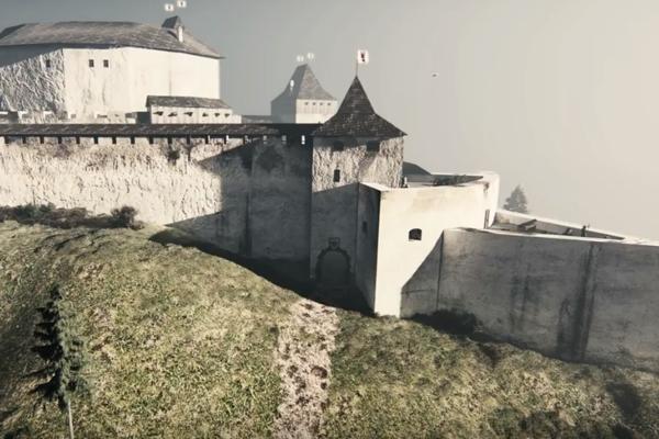 Virtuálna rekonštrukcia hradu Divín.