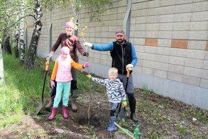Stromčeky sa sadili aj na Ulici Červenej armády vDiviakoch.
