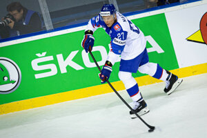 Ladislav Nagy v poslednom zápase svojej kariéry počas zápasu proti Dánsku na MS v hokeji 2019.