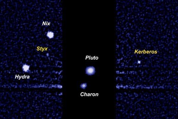 Pluto a jeho mesiace.