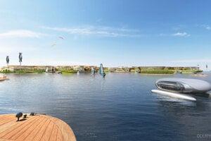 Z pobrežia do mesta Oceanix by ľudia mohli cestovať elektrickými dopravnými prostriedkami.