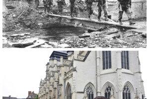 Vojaci kráčajú po ruinách v meste Pont-L'Eveque.