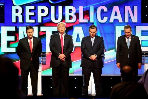 Republikánski kandidáti zľava: Marco Rubio odstúpil, v hre ostali Donald Trump, Ted Cruz a John Kasich.
