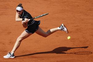 Markéta Vondroušová v priebehu finále Roland Garros 2019.