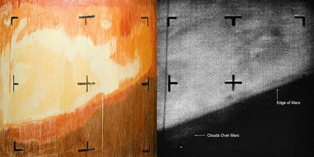 Porovnanie ručne vytvoreného a prvého digitálneho záberu Marsu zo sondy Mariner 4. Záber naľavo vytvorili nedočkaví technici, ktorí vytlačili papierové prúžky s pixelovými dátami, ktoré ručne vyfarbili.