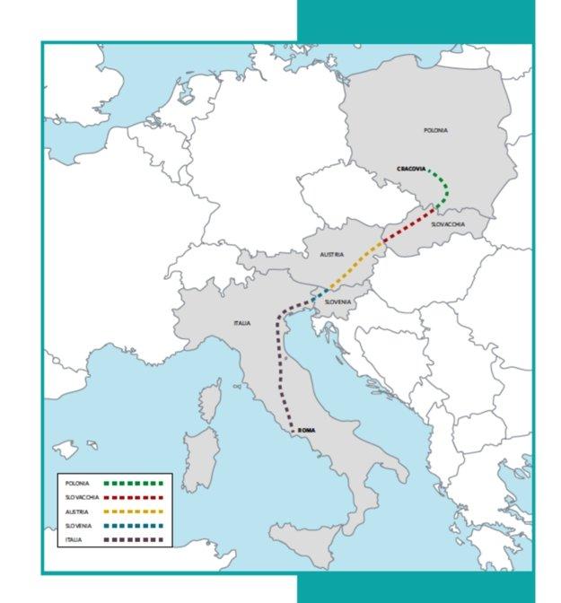Celá trasa púte. Začala v Poľsku a skončí v Ríme.