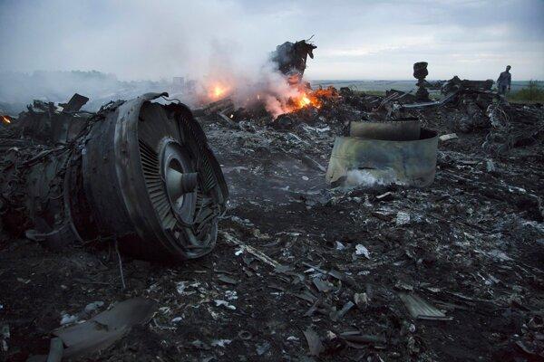 Trosky zostreleného Boeingu spoločnosti Malaysia Airlines.
