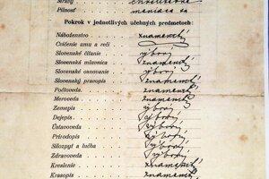 Vysvedčenie z novomestskej Elementárnej školy z 29. júna 1919.