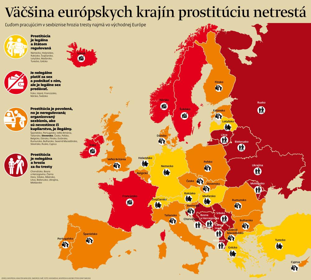 Väčšina európskych krajín prostitúciu netrestá